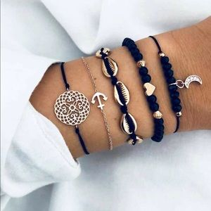 Jewelry - Shell and Anchor Woven Bracelet Set (5pcs)